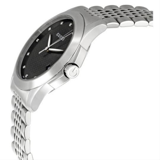 Gucci Black Dial & Diamonds Silver Stainless Steel Designer Mens Watch