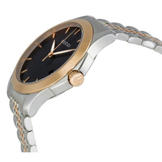 Gucci Black Dial Silver and Rose Gold Dress Designer mens Watch