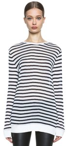 T by Alexander Wang Linen Longsleeve Light Weight Striped T Shirt white + dark navy
