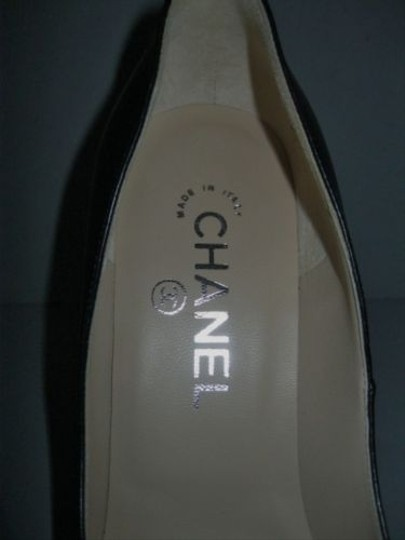 Chanel Classic Leather Open Toe Chain Trim Black Pumps