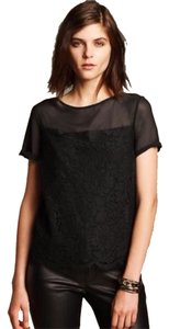 Banana Republic Boat Neck Sheer Yoke Keyhole Top Black