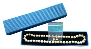 Genuine Pearls Luxury size Ivory Champagne Necklace Earring Set (Like Brand New Never Worn)