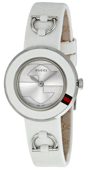Preload https://item1.tradesy.com/images/gucci-silver-dial-white-leather-strap-casual-designer-ladies-watch-4972015-0-0.jpg?width=440&height=440