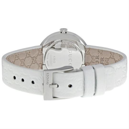 Gucci Silver Dial White Leather Strap Casual Designer Ladies Watch