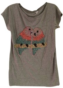 French Connection T-shirt Fc Jeans Lovebird Bird T Shirt grey with pink, teal sequins