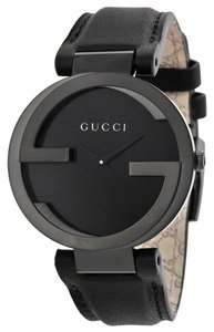 Gucci Guci Mens watch All Black Leather Strap and Dial Dress Designer Watch