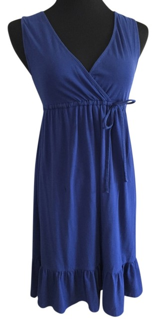 Ann Taylor LOFT short dress Blue V-neck Cotton on Tradesy