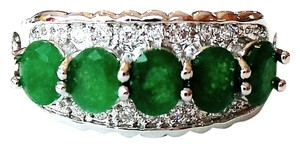 Beautiful Natural Genuine Green Emerald, White Topaz 925 Sterling Silver Ring US SZ 8