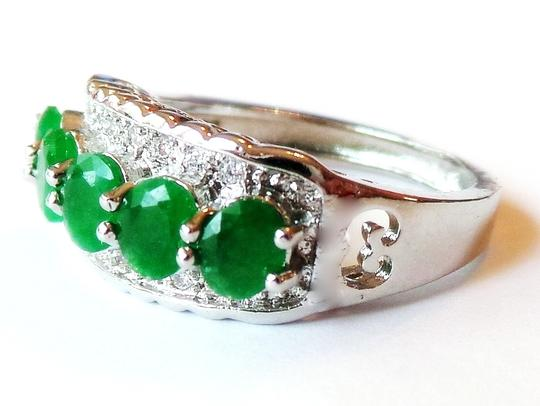 Other Beautiful Natural Genuine Green Emerald, White Topaz 925 Sterling Silver Ring US SZ 8