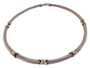 David Yurman David Yurman Sterling and Gold 5mm Crossover Collection Necklace Style Choker