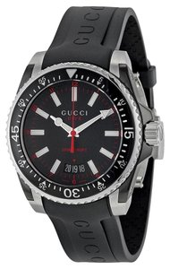 Gucci Gucci Mens Watch Black Rubber Band Black Dial Sport Designer Watch