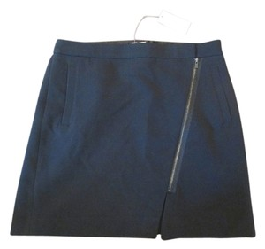 Banana Republic Zipper Asymmetrical Mini Skirt Black