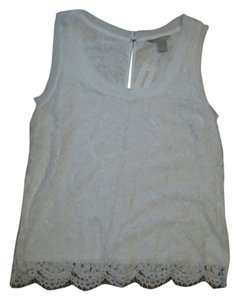 Banana Republic Keyhole Sleeveless Lace Sleeveless Scalloped Lace Top White