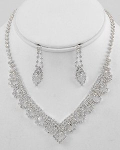 / Rhinestone Necklace and Earring New Jewelry Set