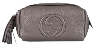 Gucci New Gucci 308634 Silver Leather Soho Tassel GG Small Cosmetic Makeup Bag Clutch