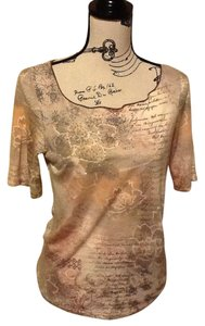 184715a8f95 One World Sequins Floral Short Sleeve Lightweight Casual Top Light tan