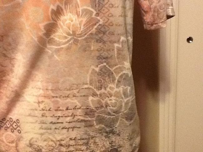 One World Sequins Floral Short Sleeve Lightweight Casual Top Light tan Image 3