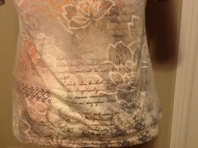 One World Sequins Floral Short Sleeve Lightweight Casual Top Light tan Image 8