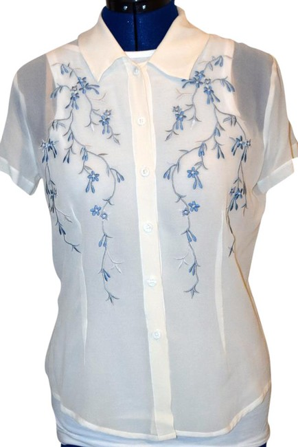 Nordstrom Brand Embroidered Sheer Silk Top White