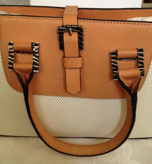 Adrienne Vittadini Classic Perforated Leather Chic Timeless Baguette Image 7