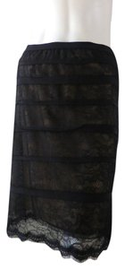BCBGMAXAZRIA Lined Lacey Nude Knee Length Skirt Black