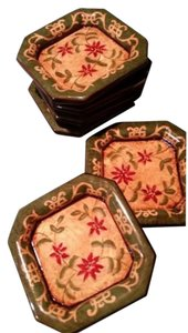 New - set of 6 wood coasters - oriental themed floral print green/tan/red