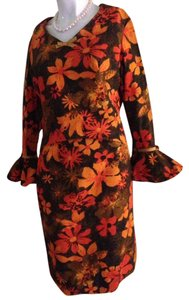 Arpeja short dress Orange, Brown, Biege Vintage Flowers Bright Fun on Tradesy