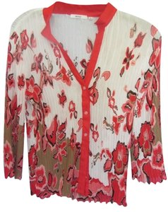 Other Top white with red/brown print