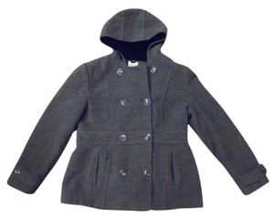 St. John Black Fleece Wool Pea Coat