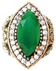 Large Emerald and White Topaz Sterling SIlver and Bronze Ring 8.5
