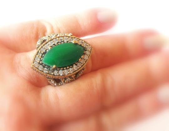 Other Large Emerald and White Topaz Sterling SIlver and Bronze Ring 8.5