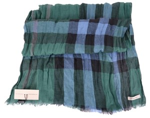 Burberry NEW BURBERRY FOREST GREEN LINEN EXPLODED NOVA CHECK CRINKLE SCARF
