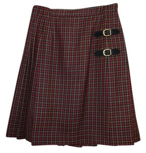 Kasper Wool Plaid Pleated Wrap Skirt Red