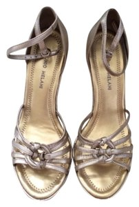 Antonio Melani Tan, gold Wedges