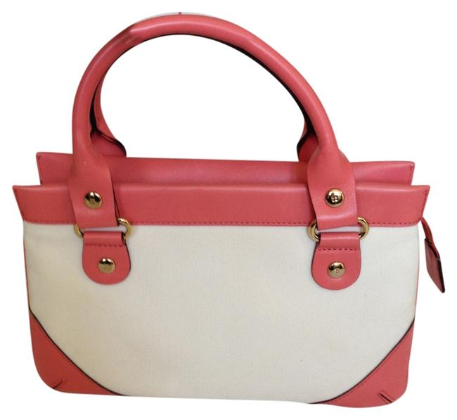 Item - Small Wynn Berkley White/Rose Leather and Canvas Baguette