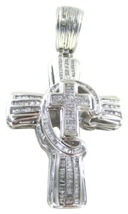 14K SOLID WHITE GOLD PENDANT CROSS 234 DIAMONDS 3.17 CARAT 22.7 GRAMS FINE JEWEL