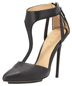 L.A.M.B. Leather Lizard-embossed Straps 5 Inch Heel Pointed Toe Black Pumps