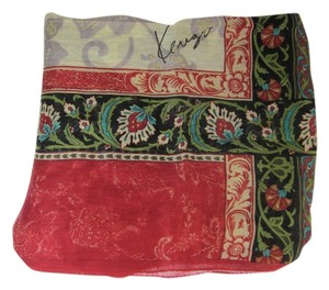 Kenzo Paris KENZO Paris - Red Multi-Color Floral & Logo, Silk, Scarf Foulard 33