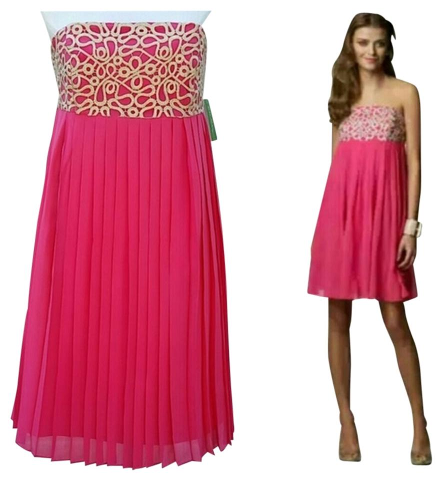 Lilly Pulitzer Bright Pink/Gold Strapless Pleated Embroidered Knee ...