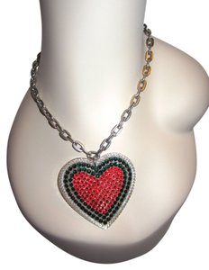 Tarina Tarantino Tarina Tarantino Swarovski Crystal Big Heart Red & Green Statement Necklace