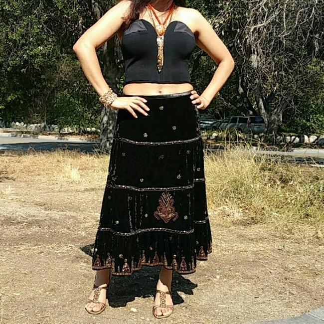 Miss Me Beaded Sequin Velvet Skirt Black/Bronze/Gold