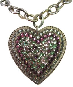 Tarina Tarantino Tarina Tarantino Swarovski Crystal Big Heart Necklace Purple & Green Statement