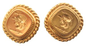 Ben-Amun BEN-AMUN GOLD PLATED ROMAN GREEK COIN SIGNET CLIP EARRINGS SIGNED HAND CRAFTED