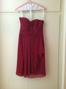 David's Bridal Red Strapless Sweetheart Chiffon Dress Dress