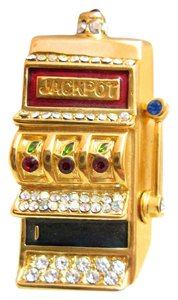 Trifari Rare Trifari Slot Machine Pin Crystals Enamel Gold 1997 Gambling