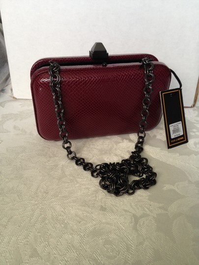Pour La Victoire Boxy Leather Convertible Classic wine Clutch