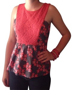 Tulle Floral Lace Sleeveless Woven Peplum Top Gray, coral