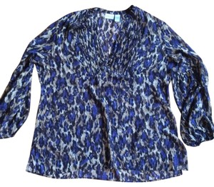 Chico's Top Blue, Tan Print