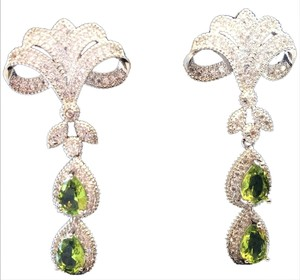 Other Elegant Long Peridot and Topaz Dangle Earrings