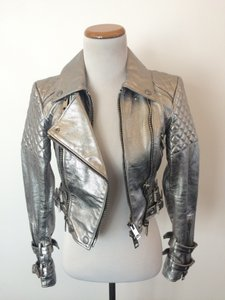 Burberry Prorsum Silver Leather Jacket
